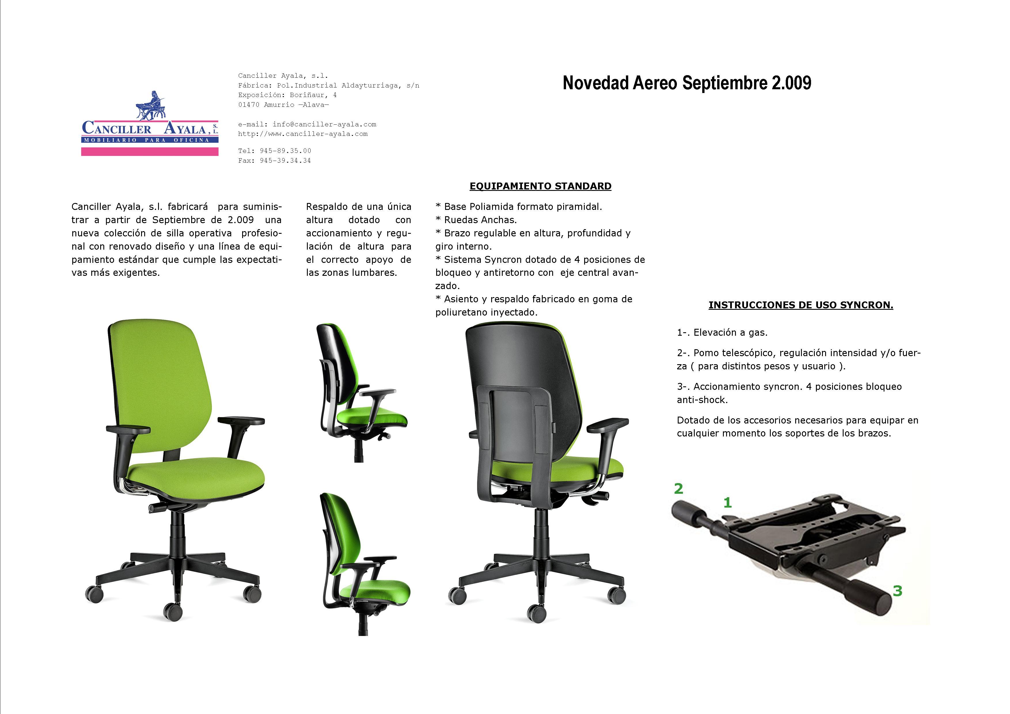 Canciller ayala s l 2007 fabricante de sillas for Sillas ergonomicas para oficina